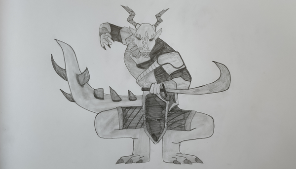 Pencil Sketch of a Splinterlands Monster: Kretch Tallevor.