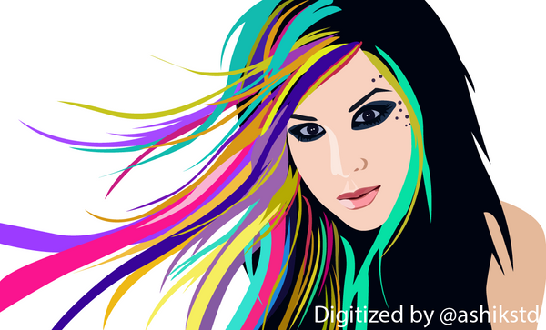"Digital Portrait of an American tattoo artist ""Kat Von D""."