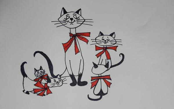 A kitten family.