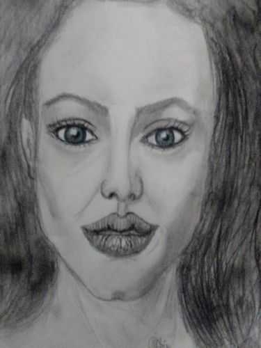 Drawing Angelina Jolie  face