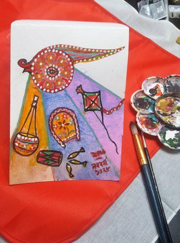 Post card making- {Pohela baishak / Bangali New year} My DIY art project