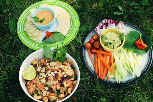Tropical rice papaya salad and two dips for a picnic on our day off
