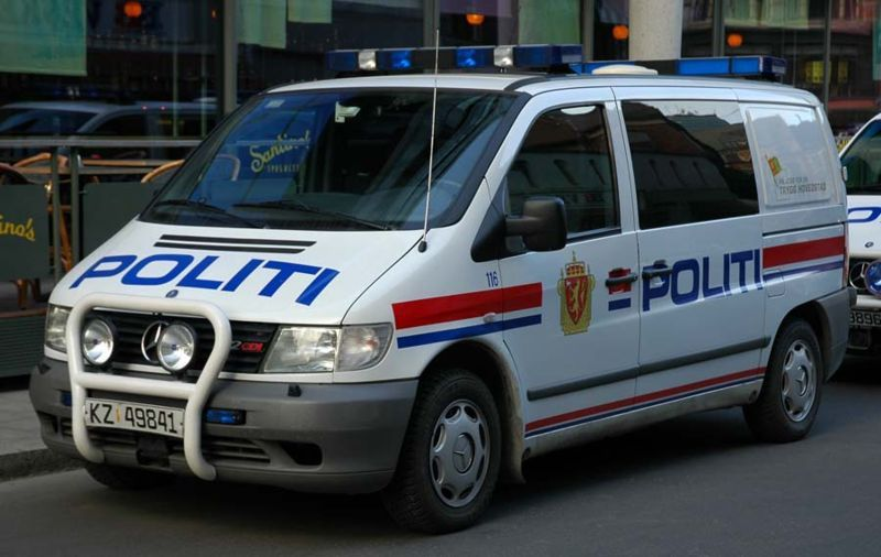 A Norwegian police van, like the one that came to us in the morning