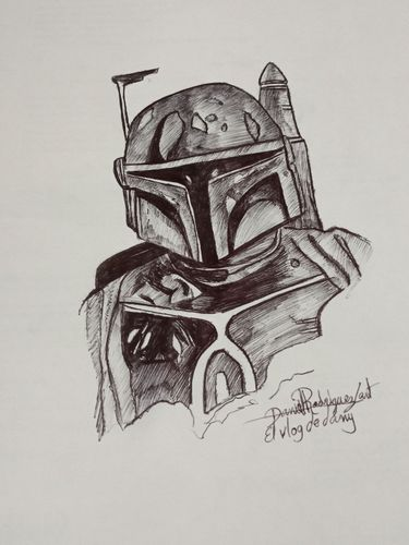 Drawing Boba Fett the mandalorian