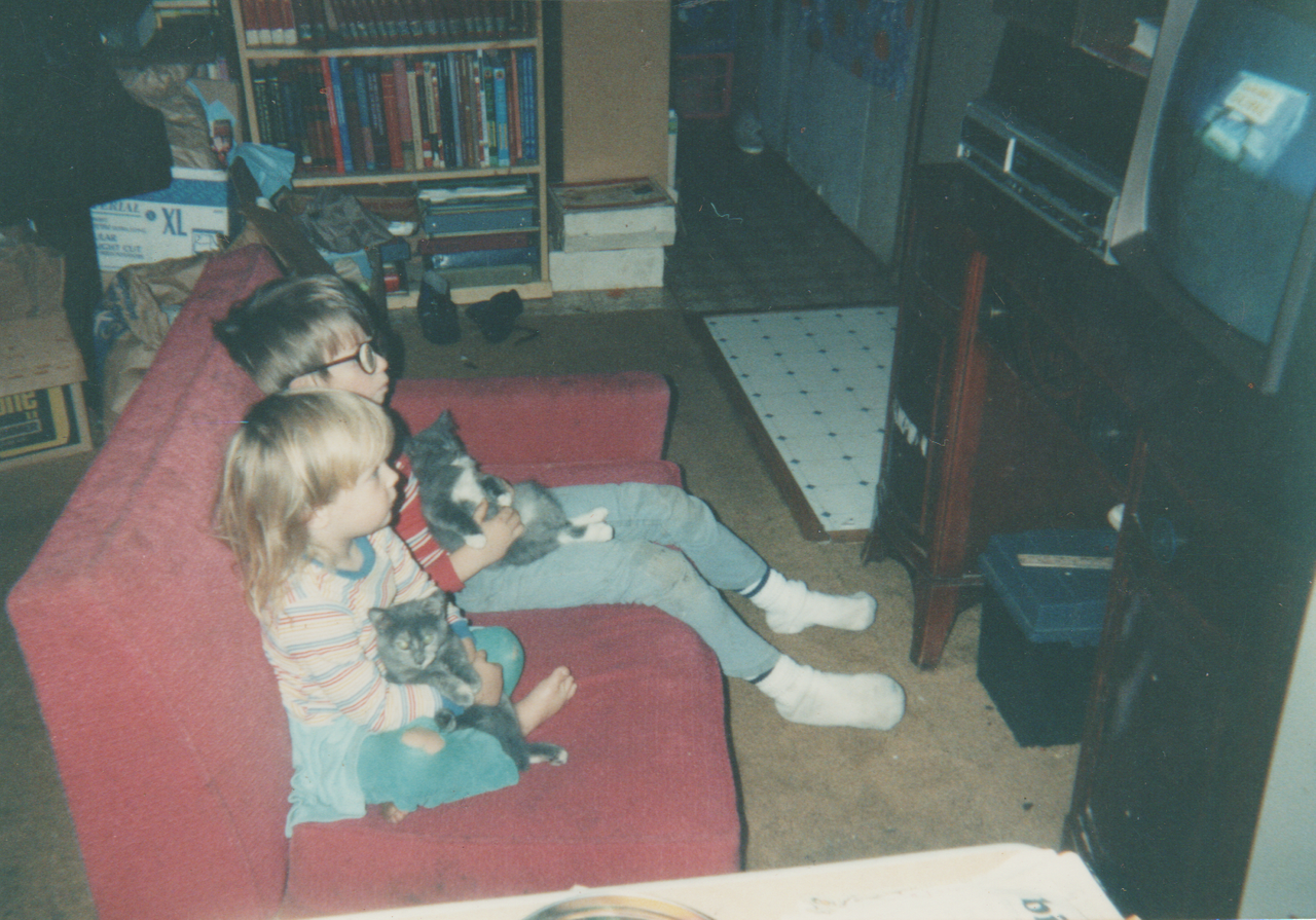 1992-12 - Inside the 163 house, Katie, Rick, Joey, Crystal, cats, couch, TV in living room, kitchen, rooms-6.png