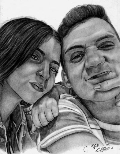 Retratos a Lapiz de esta joven pareja.