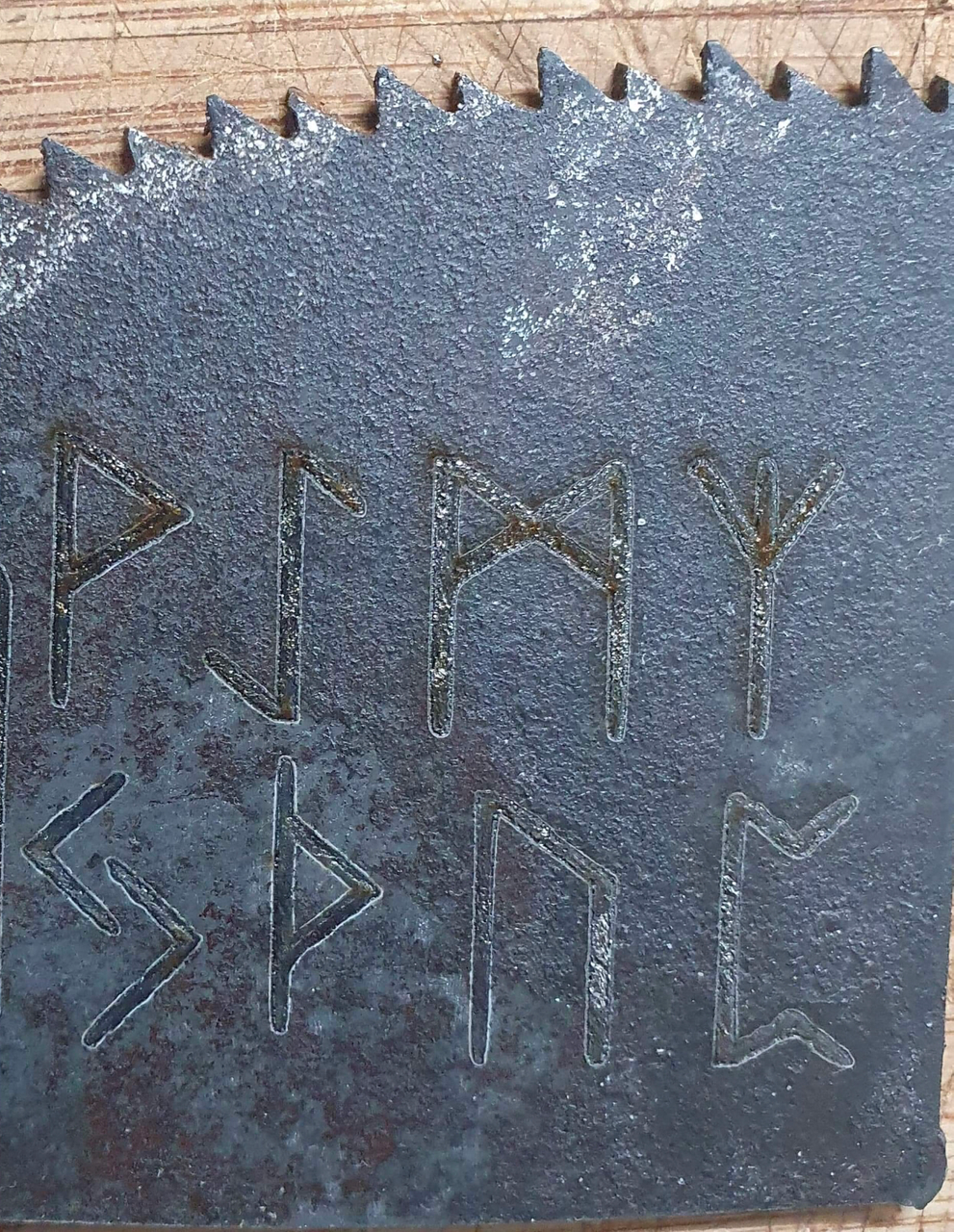 Laser engraving runes on steel