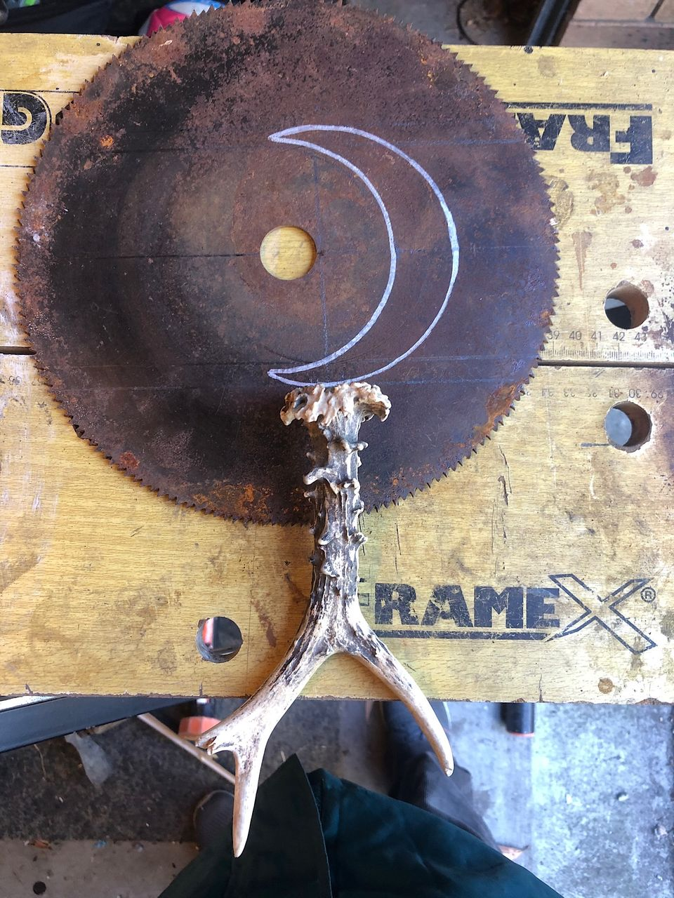 Boline with antler on circular saw blade