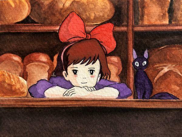 Watercolor & Gouache 🔮💜: Kiki's Delivery Service  ฅ^•ﻌ•^ฅ
