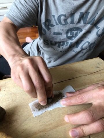Sanding the gumnut