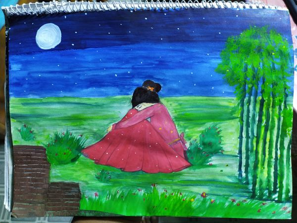 Drawing of a Sad Lonely Girl and Beautiful Nature.
