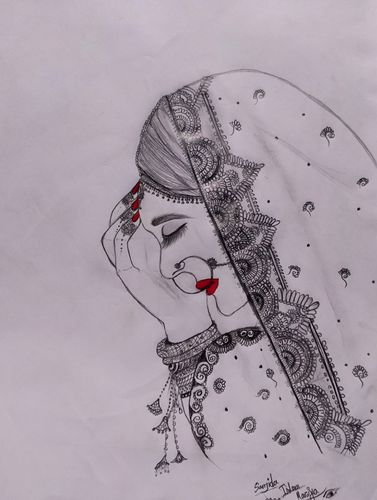 """My Pencil Sketch of a """"Traditional Bengali Women""""."""