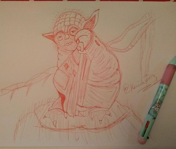 """Yoda """"Star Wars"""" /Dibujo con boligrafo rojo/  Drawing with red pen😍[ESP-ENG] Daily Drawing Challenge - Día  3 