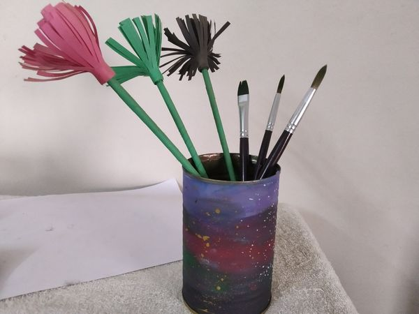 Makeing a pen/brush holder with empty mushroom can!