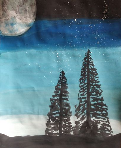 Simple but gorgeous moon night painting with poster colour.