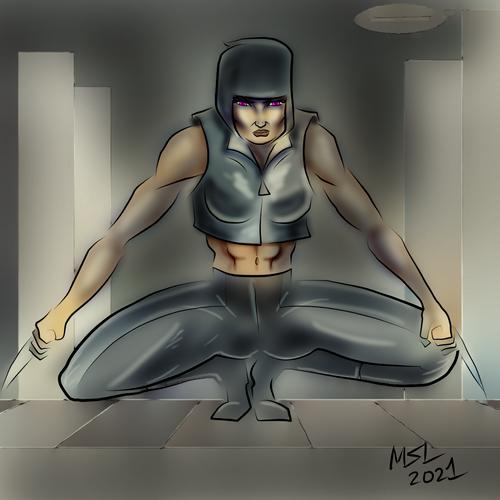 Cyberpunk Ninja, QuickPaint